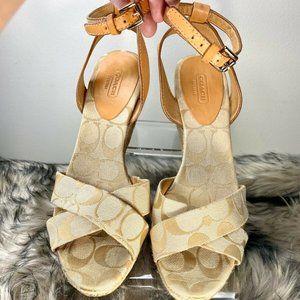 Coach Women's Henley Khaki Espadrille Sandals 10